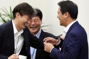 [서울포토] 박장대소 하는 조국-장하성-임종석