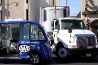 라스베이거스 자율주행 셔틀버스 주행 첫날 트럭에 들…