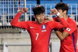 한국, 콜롬비아에 2-1 승리…손흥민 2골, 신태용호 출범 이후 첫 승