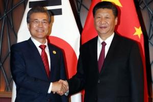 """문재인·시진핑 정상회담 …사드 갈등 마침표, 한중 관계 """"새 출발""""(종합)"""