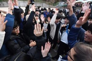 [서울포토] 코앞에 다가온 수능…파이팅 외치는 수험생들