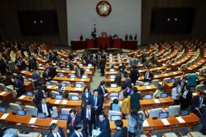 국회 본회의 개의 직후 정회, 예산처리 지연…한국당 '여야3당 합의' 반대