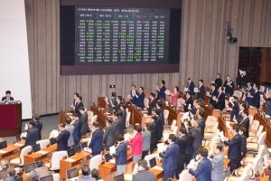 [서울포토] 2018년도 예산 428조 진통 속 본회의 통과