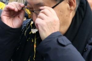 [포토] '계란 맞은' 박지원 전 국민의당 대표