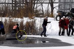 얼음 호수에 빠진 사슴 구조한 시민들