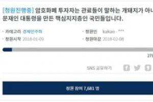 """뿔난 가상화폐 투자자들…""""금감원장 해임"""" 청와대 청원 1만5천명"""