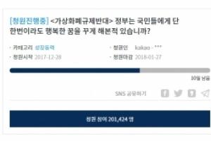 '가상화폐 규제반대' 청원 20만 돌파…청와대 답변할 차례
