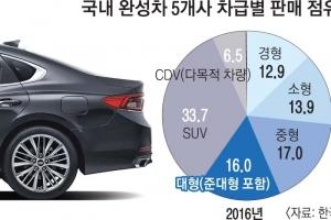대형차 판매량 첫 중형 추월