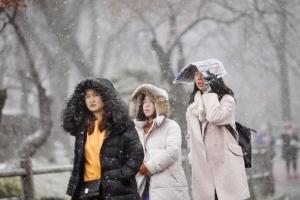 [서울포토] '눈이 와요'