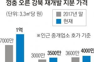 강남 재건축 누르니 강북 재개발 '들썩'