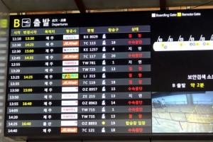 '눈 폭탄'에 제주행 비행기 끊기자 김포공항도 북새통