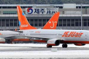 '눈보라'에 제주공항 활주로 한때 폐쇄…64편 결항·19편 회항