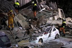 대만 화롄 지진 건물 4채 붕괴·파손…2명 사망·실종자 177명