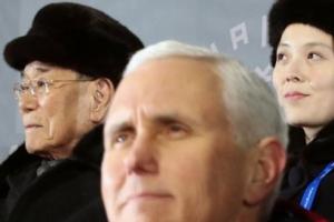 서로 외면하느라 바쁜 김영남-김여정과 펜스 미국 부통령