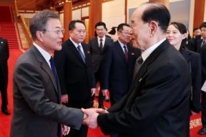 [서울포토] 인사 나누는 문 대통령과 북한 김영남