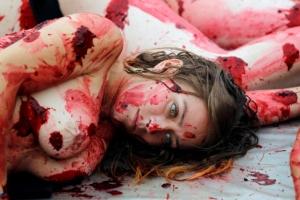 [포토] 반라에 피를 흘리며… 투우 폐지 시위