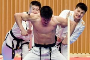 [서울포토] '각목공격 쯤이야'… 시범공연 보이는 북한 태권도 선수