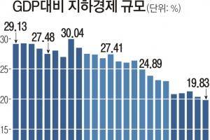 한국 지하경제 규모 첫 GDP 20% 이하로