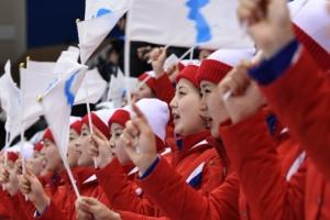 [서울포토] 일본과의 경기서 응원을 펼치는 북한응원단