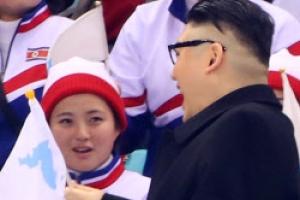 [포토] '당혹'… 북한 응원단 앞에 나타난 김정은?