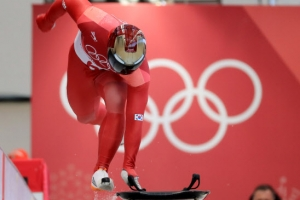 -올림픽- 윤성빈, 1차 시기 트랙 신기록으로 압도적인 1위
