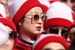[포토] '스키장이 눈부셔' 선글라스 낀 北 응원단