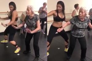 '댄스 삼매경'에 빠진 최고령 줌바춤 달인