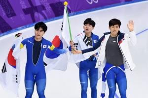 [서울포토] '은메달' 남자 팀추월, 팀워크는 금메달