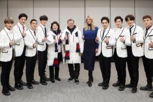 [서울포토] 이방카, 문 대통령 부부-엑소와 기념촬영