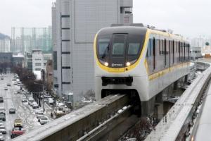 [포토] '아찔한 정차' 공중에서 발 묶인 대구도시철도 3호선