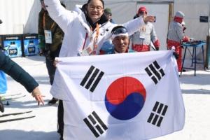 [서울포토] 2018 평창 동계패럴림픽, 태극기 펼쳐 든 신의현 선수