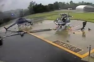 '너무 가까워!' 美 경찰 헬리콥터 충돌 순간