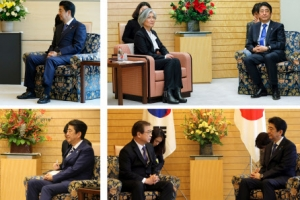 '달라진' 日아베 '의자 차별 의전'…서훈 국정원장 접견 땐 평등