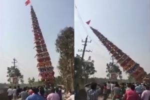 인도, 전선 위에 떨어진 30미터 높이 마차