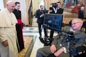[포토] 스티븐 호킹 박사 별세…생전 프란치스코 교황과의 만남