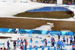[서울포토] '평창 패럴림픽' 따뜻한 날씨에 눈 녹는 경기장