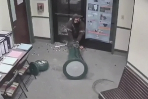 껌 자판기 훔치려고 아등바등하는 엉성한 도둑