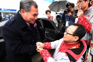 北 패럴림픽 대표단과 아쉬운 작별