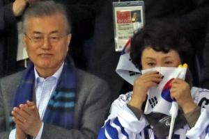 [포토] 김정숙 여사도 울린 아이스하키팀의 애국가 세리머니