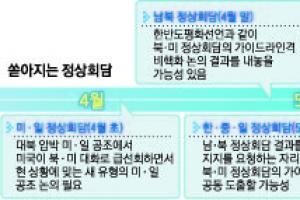 '정상들 간 원샷 협상' 북핵 해법 첫 시도…한·중·일 회담까지 4·5월에만 최대 6…