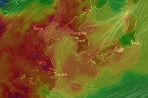 한중일 미세먼지 지도 보니…중국 '위험' 한국 '나쁨' 일본 '보통'