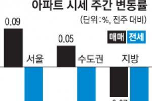 전국 13개월 만에 하락… 강남도 주춤