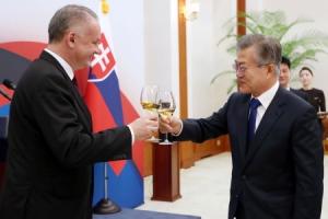 [서울포토] 키스카 슬로바키아 대통령과 건배하는 문재인 대통령