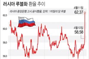 """미국 추가제재 충격에 루블화 연이틀 급락…러 """"시장 곧 진정"""""""