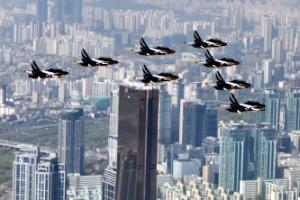 [포토] 국회 상공에서 펼쳐진 '블랙이글스 쇼'
