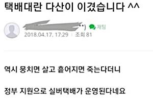 """다산신도시 실버택배 도입 """"택배대란 다산이 이겼다"""" 눈살"""