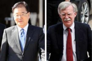 """일본언론 """"정의용, 볼턴에게 北핵무기 해외반출 방안 제안"""""""