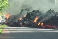 하와이 킬라우에아 화산 용암에 타버린 차량