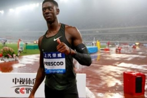 프레스콧 상하이 대회 남자 100m 깜짝 우승, 개틀린은 7위 수모