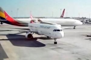 아시아나 여객기, 터키 공항서 '쾅'…다른 비행기 충돌로 화재